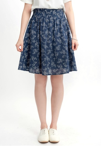 YOCO blue and navy Floral Skirt With Pleated Waistband 962D5AA1341EF1GS_1