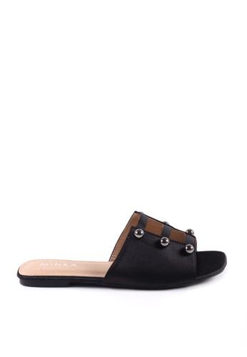 MINKA black NORA Black Three Stripe Sandal 0A509SH6814AFAGS_1