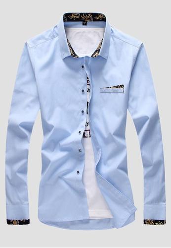 Trendyshop blue Printed Slim Casual Shirt TR353AA0FG2MSG_1