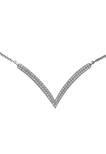 GOLDHEART GOLDHEART Necklace of Bedazzling Scintillation in V-Design, Diamond White Gold 750 (N03257DI01) AFE0BAC1034F29GS_1