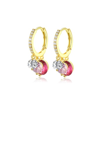 Glamorousky white Fashion and Elegant Plated Gold Geometric Pink Cubic Zirconia Round Earrings F937EAC884B67CGS_1