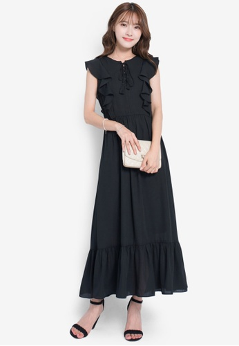 6e7cd1266898f7 Buy Yoco Elegant Midi Dress with Lace Up Detail Online on ZALORA ...