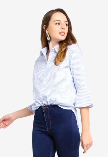 ZALORA blue and multi Dip Hem Shirt E745AAABBCD342GS_1