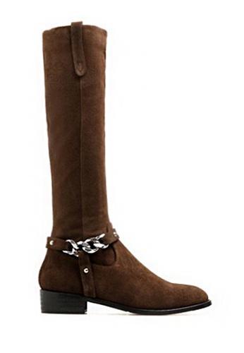 Twenty Eight Shoes 褐色 VANSA 牛絨鏈條真皮長靴 VSW-B3811 4FE24SH49B160CGS_1