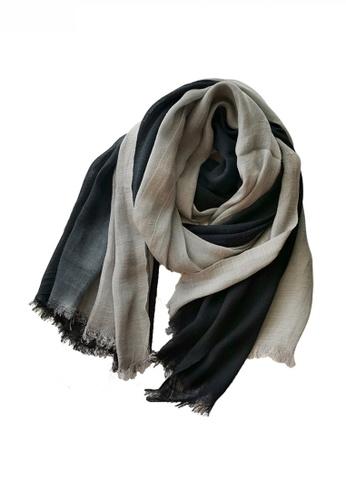 HAPPY FRIDAYS black Cotton Yarn Mix Color Tie Dye Scarf JW JS-1100 AD471AC3945218GS_1