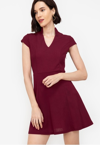 ZALORA WORK red Notch Neck Cap Sleeve Dress 24984AA73652B2GS_1