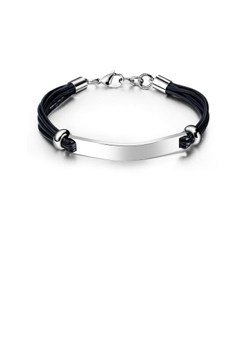 Glamorousky silver Simple and Fashion 316L Stainless Steel Smooth Curved Leather Double Layer Bracelet 3BBA6ACCDEA9EDGS_1