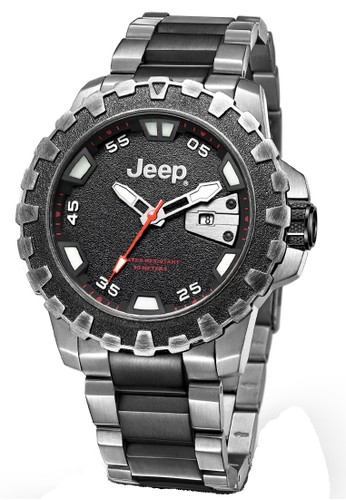 Jeep Wrangler Series JPW61401 Multifunction Watch Silver Red Black Stainless Steel