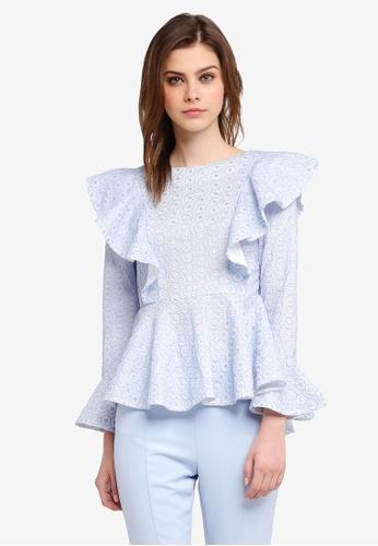 Zalia blue Lace Frill Peplum Top 71942AA6A344FDGS_1
