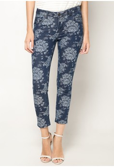 Ankzie Floral Ankle Cut Denim Pants