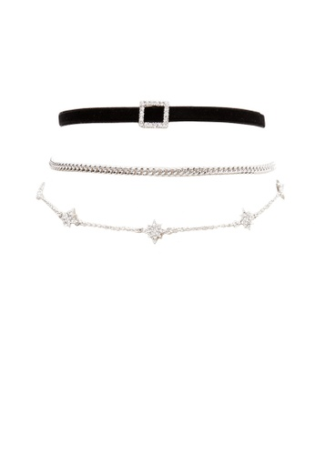 LUCCACAL black and silver 3 x Rhinestone Velvet Choker Set LU294AC34OLTMY_1