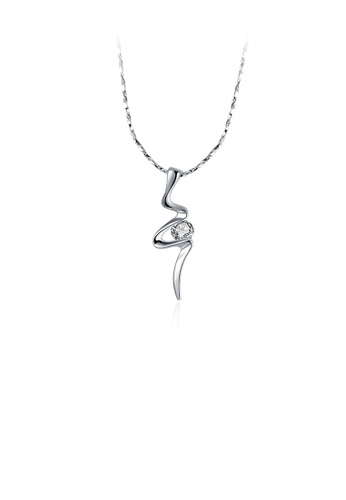 Glamorousky white Fashion and Simple Geometric Pendant with Cubic Zircon and Necklace E483EAC0D5430FGS_1