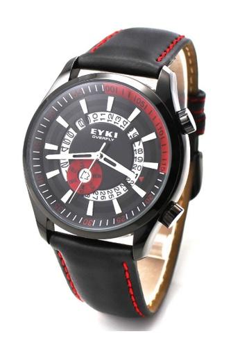 Eyki black and red Eyki W8453 Overfly Series Day Date Leather Watch (Black Red) EY078AC74ROJMY_1