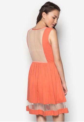 透膚網紗拼接連身esprit台灣官網裙, 服飾, 洋裝