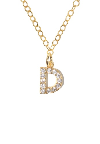 PSYNDROME gold Personalised Initial Letter Alphabet Cubic Zirconia Necklace - D 99DC9AC78B5C78GS_1