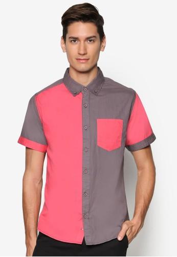 拼色短袖襯衫、 服飾、 襯衫MILANO拼色短袖襯衫最新折價
