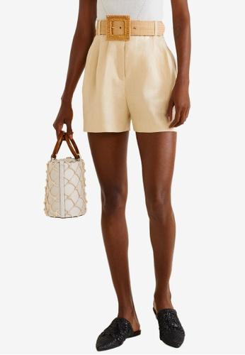 Mango beige Linen-Blend High-Waist Shorts 0D00FAA6835270GS_1