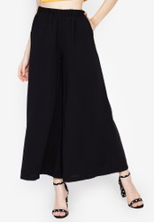 Chase Fashion black Plain High Rise Wide Leg Long Culottes B7ABEAA5767E9FGS_1