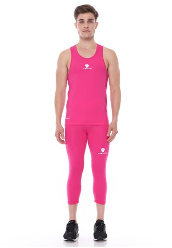 Jual Tiento Tiento Man Basalayer Singlet Pink Olahraga Dan Celana Legging Sport Sebetis Pria 3 4 Pants 1 Stel Original Zalora Indonesia