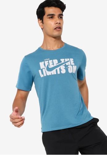 Nike blue Dri-FIT Miler Wild Run Tee FA8B5AAD9EA3D5GS_1