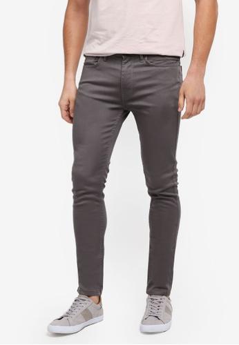 Burton Menswear London 灰色 窄管緊身牛仔褲 4CC77AA7034615GS_1