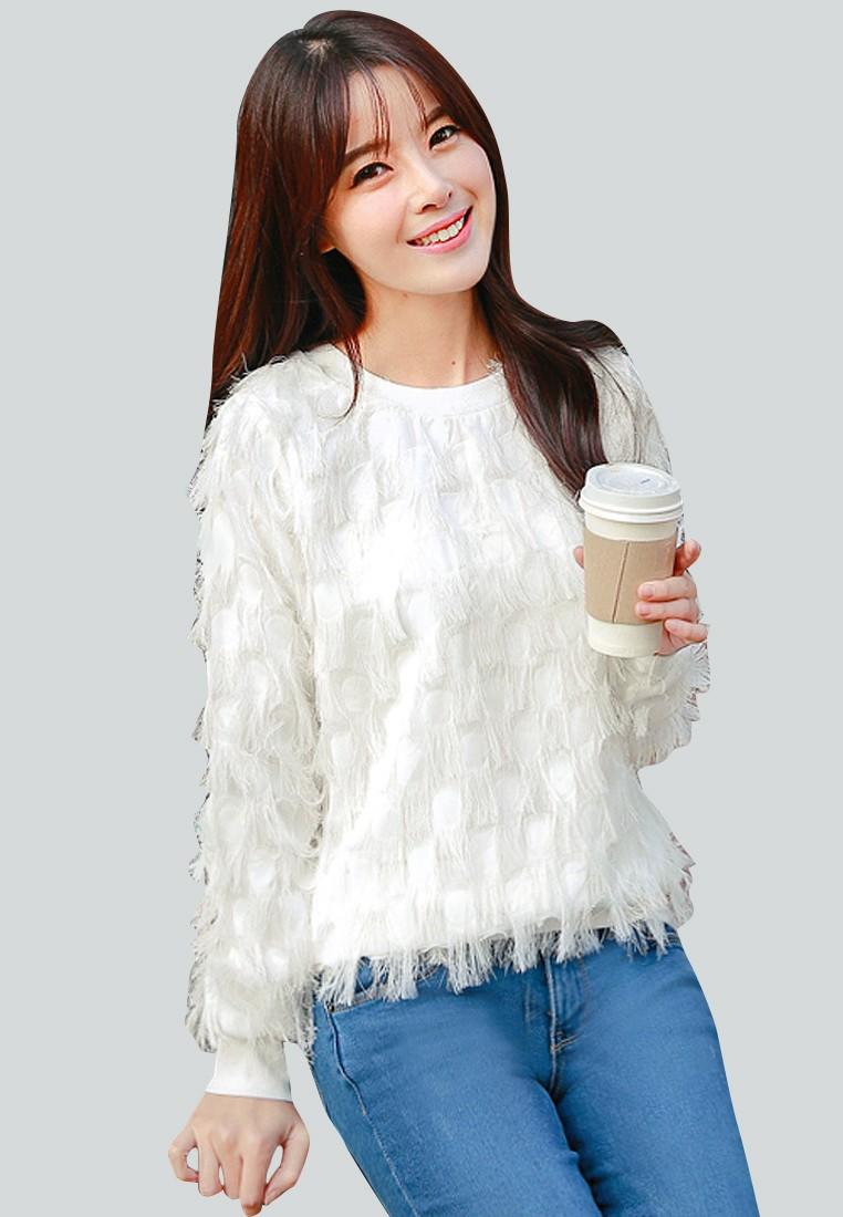 Fuzzy Coziness Fringe Pullover