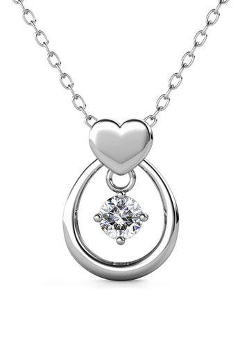Her Jewellery silver Love Drop Pendant (White Gold) - Made with premium grade crystals from Austria D5677AC27FFA70GS_1