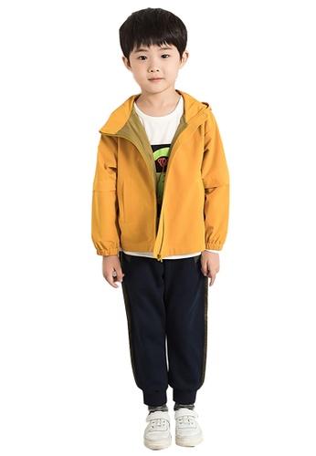 M.Latin yellow Hooded Zip Windbreaker EC0E2KAA0BB8C6GS_1