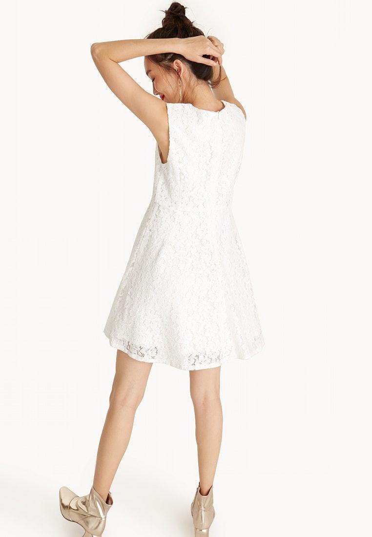 Pomelo Lace Sleeveless Neck White Round Dress Mini qxwCX5E