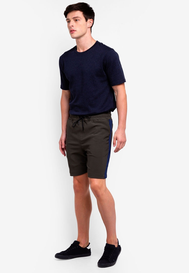 Pull Side With Stripe UniqTee Green Shorts On fTwrqUfnP