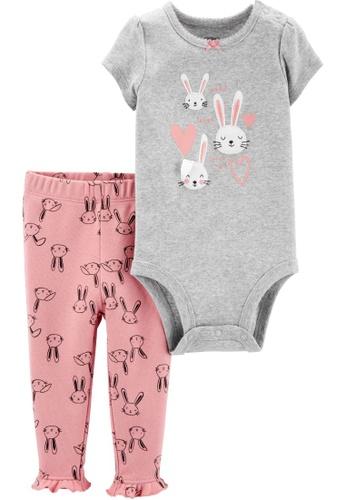 Carter's grey CARTER'S Girl Grey Bunny Bodysuit & Pant Set 623E9KA02AA14DGS_1
