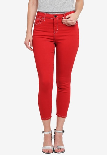 TOPSHOP red Petite Red Jamie Jeans 73E5BAAAF67A53GS_1