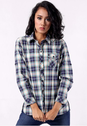 Point One blue IMANIAR Navy Plaids Basic Shirt with Drop Yore PO706AA79KNKID_1