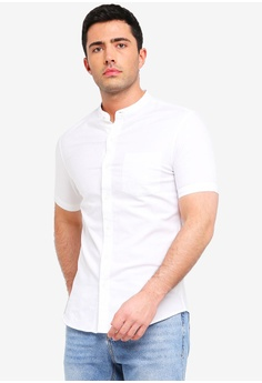 2501752fe0d Topman white Muscle Oxford Short Sleeved Shirt 05CECAA963C6AEGS 1