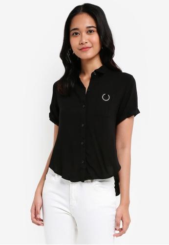 Penshoppe black Poplin Shirt With Pocket Detail C40D4AA9FF7DDAGS_1