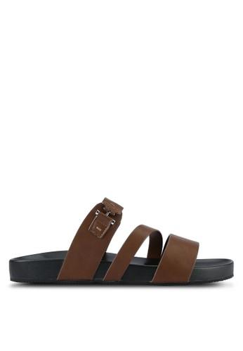 ZALORA brown Faux Leather Sandals D4116SH08E7F30GS_1