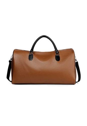Lara brown Men's Soft PU Leather Travel Bag - Brown 9AF33AC181409CGS_1