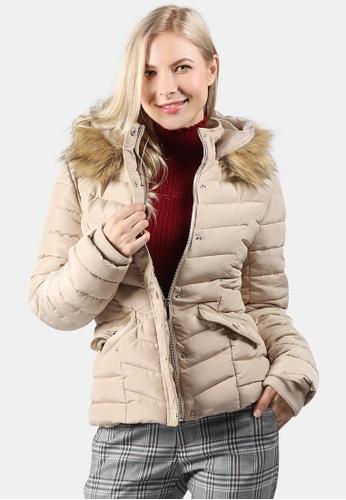 London Rag beige Puffer Jacket With Faux Fur Hoodie A063EAA4FD27BEGS_1