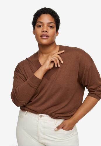 Violeta by MANGO brown Plus Size V-Neck Knit Sweater B797EAA3F99E58GS_1