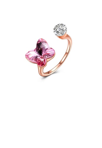 Glamorousky pink 925 Sterling Silve Rose Gold Plated Elegant Romantic Sweet Pink Austrian Element Crystal Butterfly Adjustable Opening Ring 958B7ACC9A9DAEGS_1