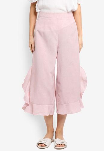 ZALORA pink Culottes With Ruffle Hem C3AC1AA29E865FGS_1