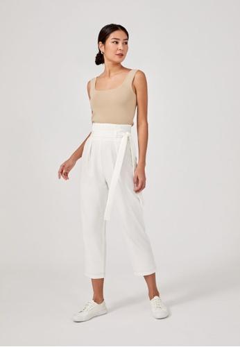 Love, Bonito white Jennee Belted Peg Leg Pants 1EA61AAAF7E21FGS_1