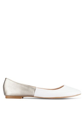 ZALORA white and silver Basic Two Tone Ballerinas 089F5SHF42D082GS_1