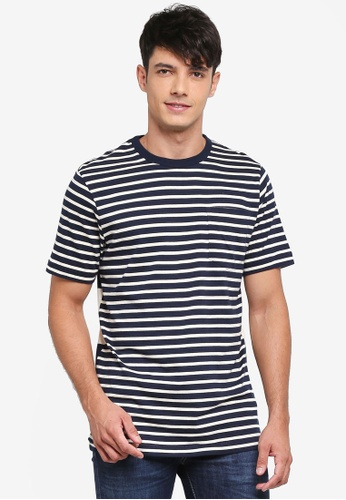 French Connection blue Odd Stripe Mix Tee 13291AA8D920D9GS_1