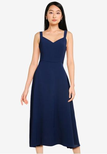 ZALORA BASICS navy Sweetheart Neckline Midi Dress AACFBAA04C895BGS_1