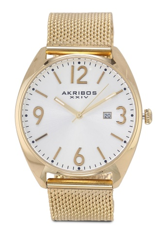 Akribos XXIV gold Date Stainless Steel Watch 6F52AAC7423C54GS_1