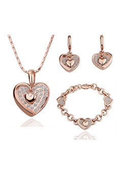 Peach Heart Crystal Accessories Jewellery Sets