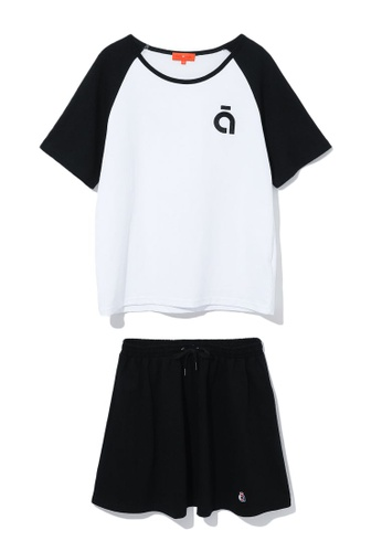 tout à coup black Logo embroidered tee and skirt set 559BDAA3BF7A56GS_1