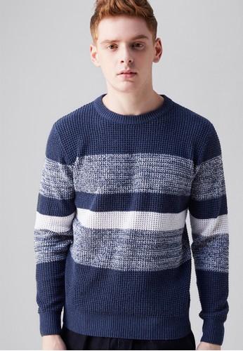 韓式型男。立體針織。撞色混紡圓領毛衣-03606-藍色, 服飾, 外zalora 鞋評價套