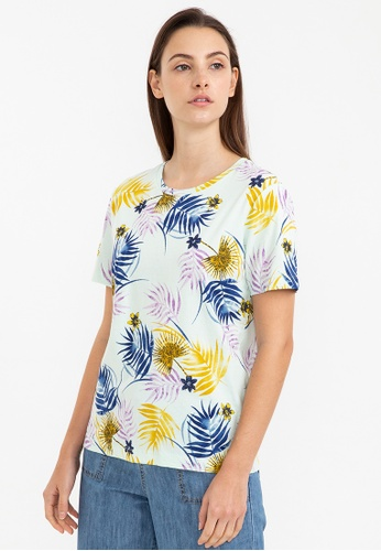 Bossini green Graphic Tee [Palm Leaves Allover Print] 86D51AA08AAA62GS_1